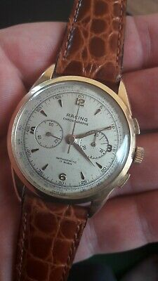 $ CDN483.07 • Buy VINTAGE 40s RARE 18k GOLD RACING CHRONOGRAPH MENS WATCH.cal. LEMANIA 1270.JUMBO!