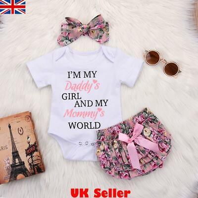 Newborn Baby Girls Romper Tops Jumpsuit Tutu Pants Headband Outfits Clothes Sets • 8.39£