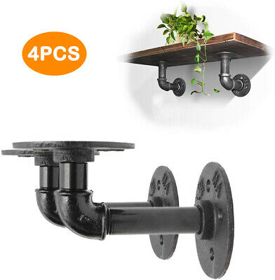 4PCS Pipe Shelf Brackets Industrial Iron Rustic Shelves Wall Floating Supports • 19.25£
