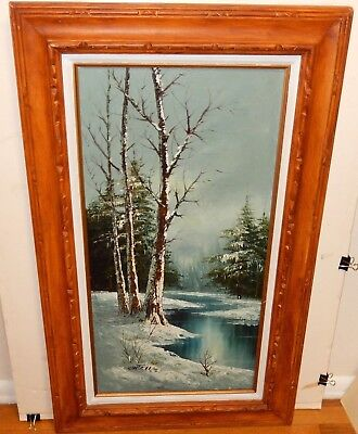 $ CDN362.85 • Buy Cantrell Original Oil On Canvas Winter Snow River Landscape Painting