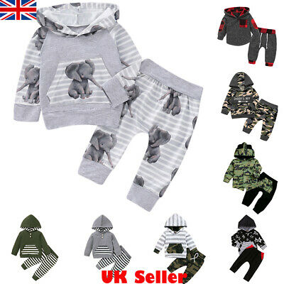 UK Infant Baby Boys Clothes Hooded Tops + Pants Leggings Outfits Set Tracksuit • 7.99£