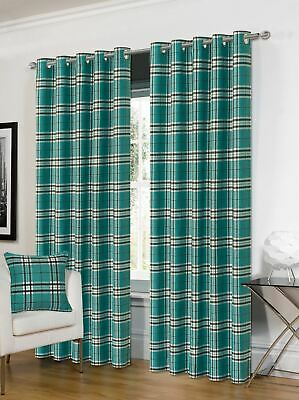 Tartan Teal Black Check Lined Ring Top Curtains & 2x Cushion Covers *4 Sizes* • 65.95£