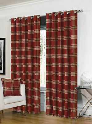 Tartan Red Beige Check Plaid Woven Lined Ring Top Curtains *4 Sizes* • 58.99£
