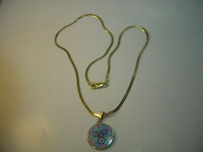 Solid Silver & Gold Plated-18  Flat Snake Chain & Superb Millifiouri Pendent  • 46£