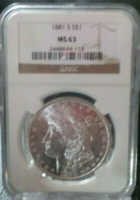 $40.01 • Buy 1881 S Morgan Silver Dollar NGC MS 63 FREE SHIPPING