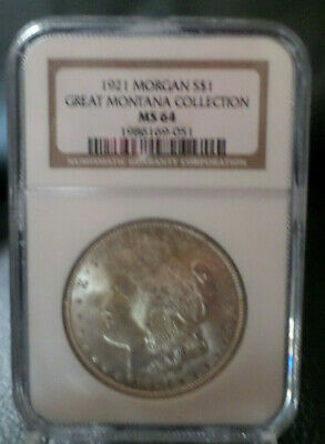 $43 • Buy 1921 Morgan Silver Dollar $1 Great Montana Collection NGC MS 64