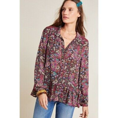 $ CDN68.02 • Buy NWT Anthropologie Maeve Printed Lace Janie Peasant Button Down Blouse Size 8 US