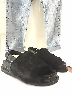 AU230 • Buy Marni Calf Hair Fussbett Sandals Flats 37 Black Leather $630 Bassike Jeans Sep