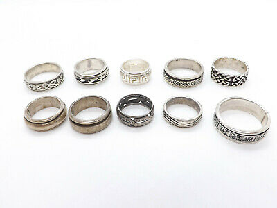 $ CDN164.78 • Buy Lot Of 10 Sterling Silver Wedding Bands Designs, Some Spinners, Celtic, 63.9g