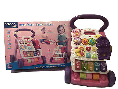 £19.99 • Buy Pink Vtech First Steps Baby Walker Push Along Stroller Trolly With Box