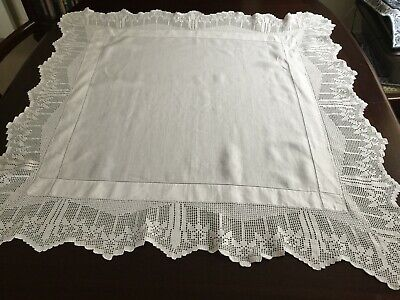Vintage French White Linen Table Cloth With Deep Cotton Lace Edging • 12.99£