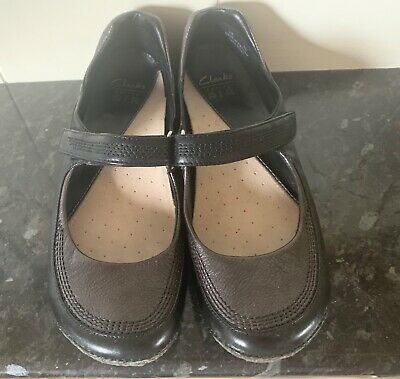 Clarks Active Air Size 6 Shoes Black And Pewter Mary Jane Style Shoes • 3.99£