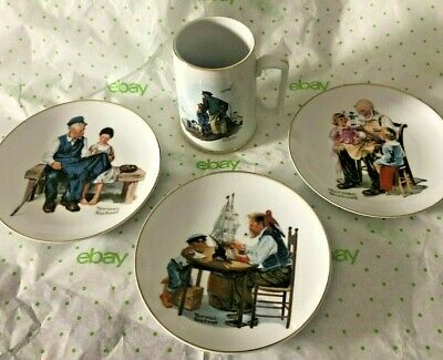 $ CDN32.67 • Buy Norman Rockwell Museum 1985 Tankard Looking Out To Sea 1984 Plates Lot Of 4