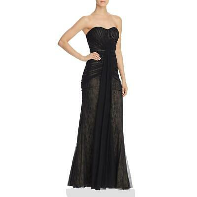 $41.99 • Buy Aidan Mattox Womens Black Tulle Ruched Strapless Evening Dress Gown 4 BHFO 4707