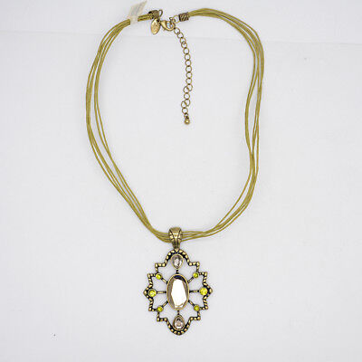 $ CDN10.86 • Buy Lia Sophia Jewelry Gold Tone Snowflake Pendant Green Cut Crystals Rope Necklace