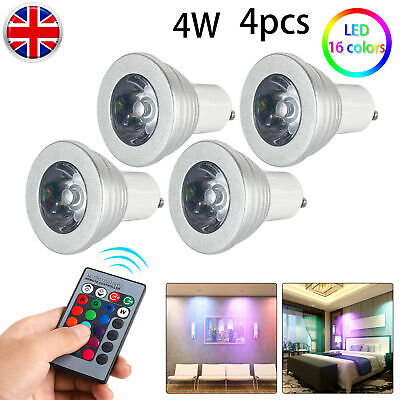 4X GU10 4W 16 Color Changing RGB Dimmable LED Light Bulbs Lamp RC Remote Spot OS • 10.19£