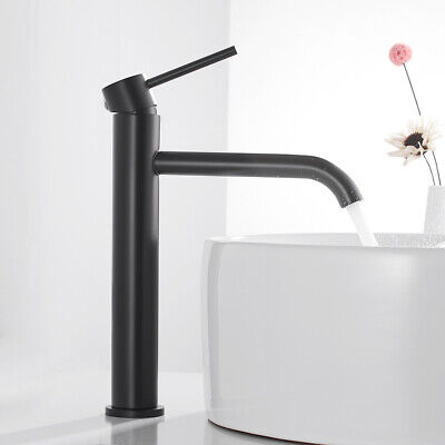 Black Bathroom Basin Mixer Taps Mono Sink Faucets Tall Counter Top Tap • 23.59£