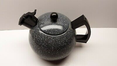 $14.99 • Buy Grey Speckled Enamel Tea Pot Kettle Whistler