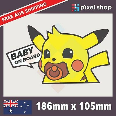 AU5.99 • Buy Baby On Board Pikachu Sticker Decal - Cute Peeking JDM Funny Drift Car Ute 4x4