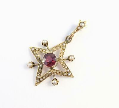 ANTIQUE EDWARDIAN 9ct GOLD STAR NECKLACE PENDANT - SEA PEARLS AND GARNET • 50£