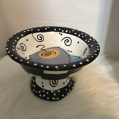 $ CDN30 • Buy With Love Joanne Delomba Lotus Pottery Cupcake Stand Black And White