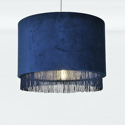 Navy Velvet Tassel & Chrome Inner Easy Fit Ceiling Light Shade Lampshade Pendant • 23.99£