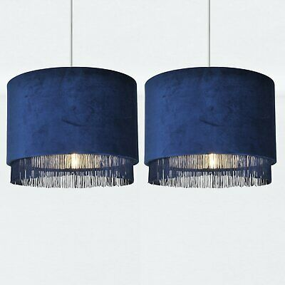 Set Of 2 Modern Velvet Navy Tassel Ceiling Light Shade Easy Fit Pendants • 39.99£