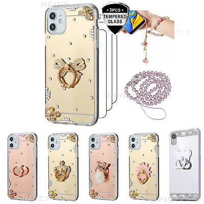 Ring Holder Mirror Soft Phone Case With 3PCS Screen Protector & 2 Lanyards A • 15.98£