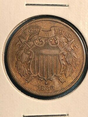 $ CDN89.99 • Buy 1866 Two Cent Piece Problem Free Full Motto!
