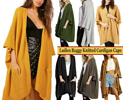 Womens Oversized Pocket Baggy Knitted Jumper Cardigan Cape Ladies Fashion Top • 14.25£