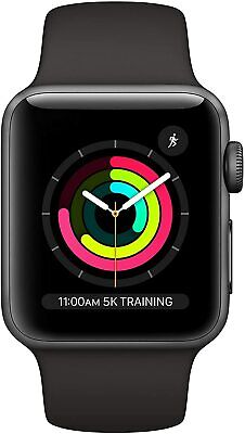 $ CDN284.19 • Buy Apple Watch Series 3 38mm Space Gray Aluminum - Black Sport Band MTF02LL/A *New*