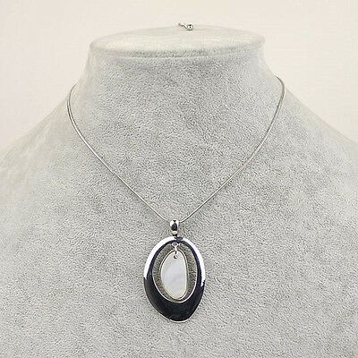 $ CDN10.86 • Buy Lia Sophia Signed Jewelry White Gold Silver Shell Big Pendant Necklace Chain