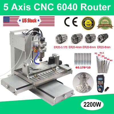 $ CDN4185.34 • Buy 5 Axis CNC Router 6040 3D Engraving Machine USB 2.2KW Cutting Milling Engraver