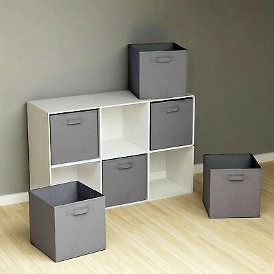 4PC Large Foldable Square Canvas Storage Collapsible Box Fabric Cubes Toys Grey • 11.89£