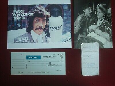Peter Wyngarde -jason King Signed Receipt  Company Cheque  Press Photo's • 49.99£