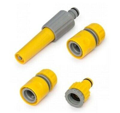 Water Hose Pipe Spray Nozzle Gun Set 4pcs Yellow Tap Fitting Connector Garden • 5.99£