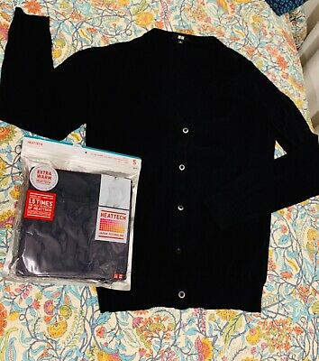 """AU9.20 • Buy 2 For1PRICE BN""""Uniqlo""""HEATTECH((extra Warm)long Sleeve Tee+100%cotton Cardigan"""