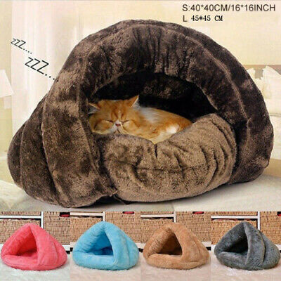 Pet Cat Dog House Kennel Puppy Cave Sleeping Bed Soft Mat Pad Winter Warm Nest • 13.98£