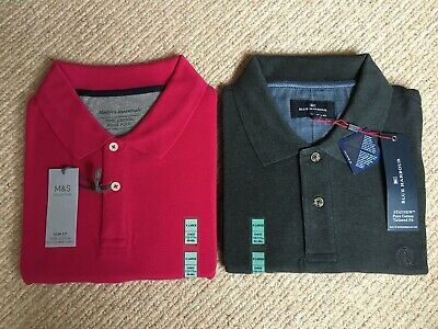 Marks And Spencer Mens Polo Shirts 1 X Bright Pink 1 X Charcoal • 12.99£