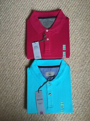 Marks And Spencer Mens Polo Shirts 1 X Bright Pink 1 X Tourquoise • 12.99£