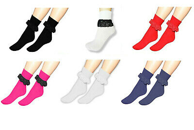 Girls Frilly Ankle Lace Socks Cute Crew Length School Fashion Cotton Size 12-3.5 • 2.99£