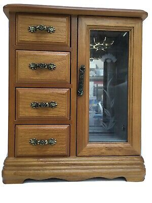 Wooden Jewellery Chest With Drawers & Glass Door • 9.95£