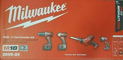 Milwaukee  2695-24 M18™ Cordless LITHIUM-ION 4-Tool Combo Kit NEW In The Retail • 296.43£