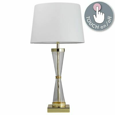 Modern Touch Table Lamp Bedside Light Gold And Ribbed Glass With White Shade • 24.99£