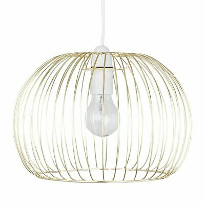 Modern Gold Satin Brass Ceiling Light Shade Pendant Metal Wire Easy Fit Shade • 12.99£