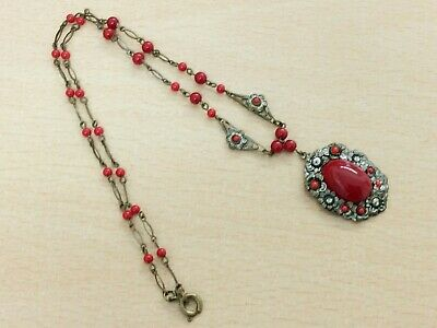 £34 • Buy Antique Czech Red Glass Costume Pendant Necklace 1920