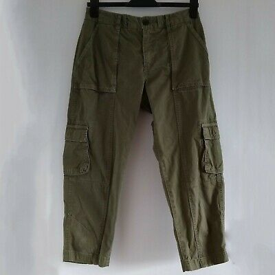 Fat Face Dark Khaki Green Cotton Crop Cargo Trousers Size EU 38 - UK 10 • 6.99£