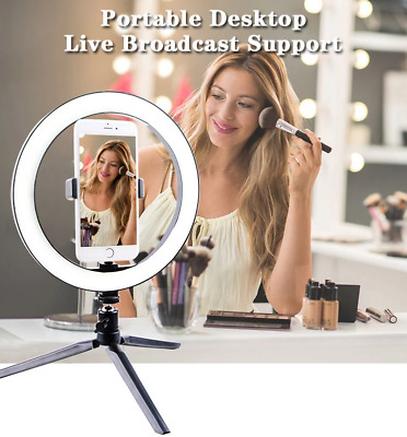 10 Inch Dimable LED Light Ring Phone Holder Live Streaming Video Selfie Makeup • 12.99£