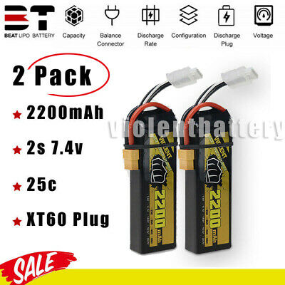 $ CDN26.35 • Buy 2PCS BEAT 7.4V 2S 2200mAh 25C LiPO Battery For RC Car Airplane FPV Drone Buggy