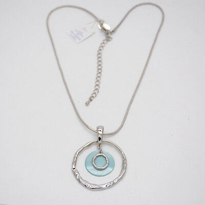 $ CDN10.86 • Buy Lia Sophia Jewelry Silver Plated Hammered Circle Pendant Genuine Shell Necklace